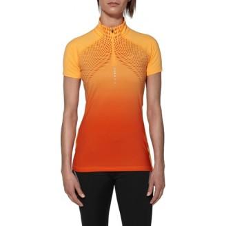 Футболка ASICS Short-Sleeve Half Zip Top оранжевая женская