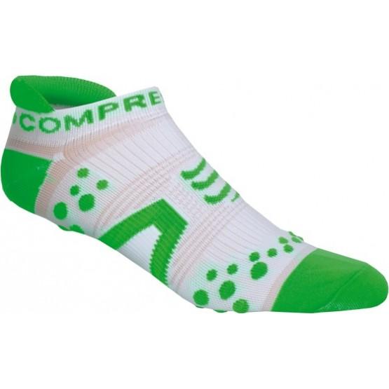 Носки Compressport V2 Run Lo White бело-зеленые