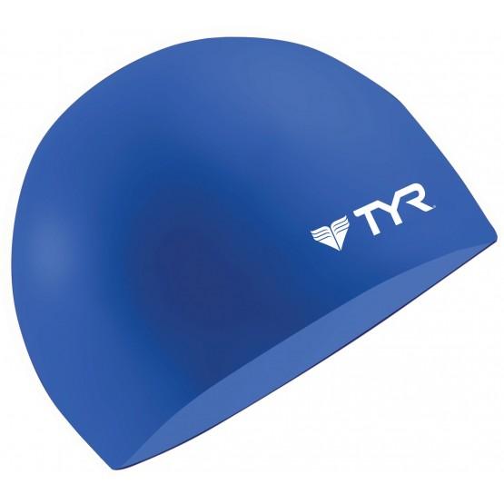 Шапочка для плавания TYR Wrinkle Free Silicone Cap синяя