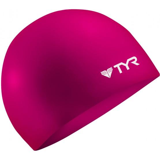 Шапочка для плавания TYR Wrinkle Free Silicone Cap розовая