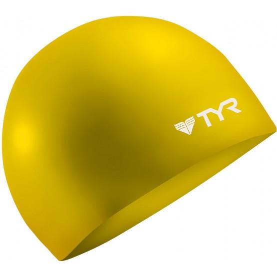 Шапочка для плавания TYR Wrinkle Free Silicone Cap желтая