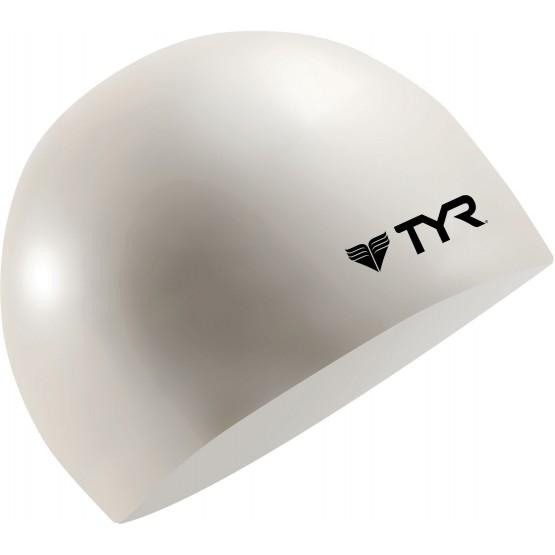 Шапочка для плавания TYR Wrinkle Free Silicone Cap белая