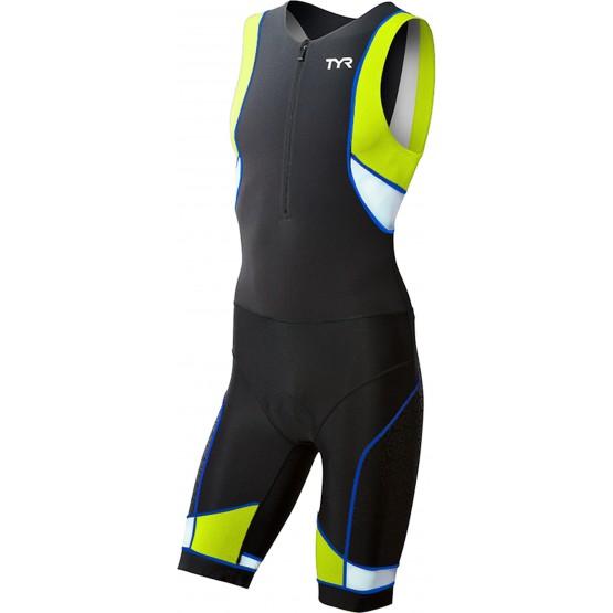 Стартовый костюм слитный / без рукавов TYR Men'S Competitor Tri Suit Front Zip мужской черно-зеленый
