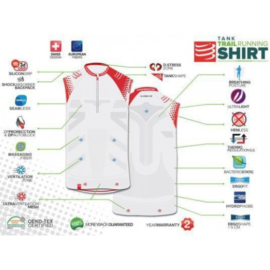 Футболка Compressport Trail Running Shirt белая мужская