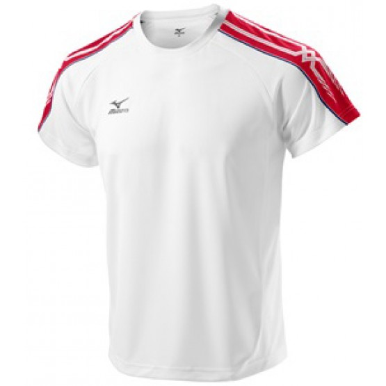 Футболка Mizuno Tee 201 бело-красная мужская