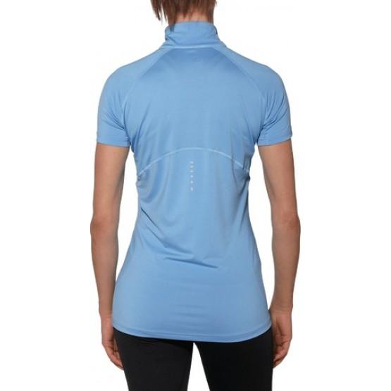 Футболка ASICS Short-Sleeve Half Zip Top голубая женская