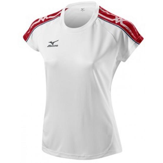 Футболка Mizuno Women's Tee 211 бело-красная женская