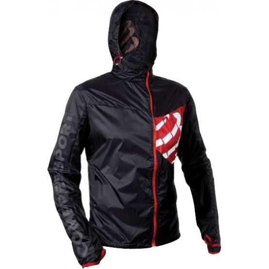Ветровка с рукавами Compressport Hurricane Jacket черная унисекс