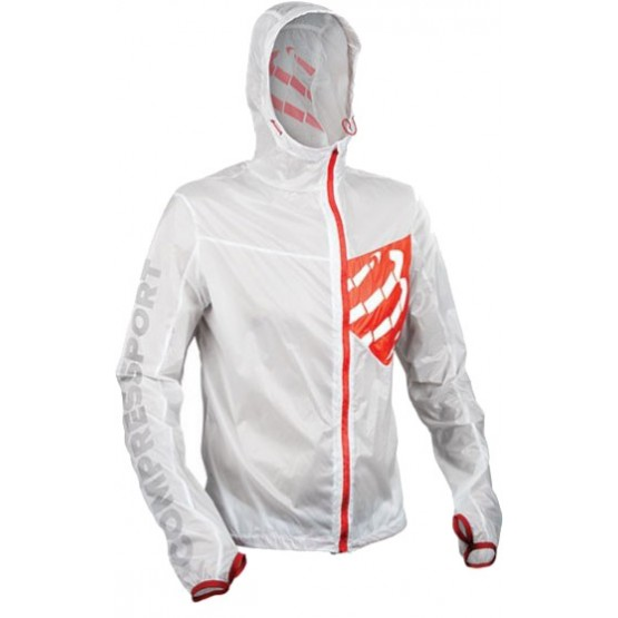Ветровка с рукавами Compressport Hurricane Jacket белая унисекс