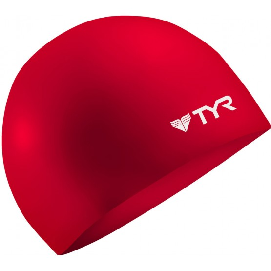 Шапочка для плавания TYR Wrinkle Free Silicone Cap красная