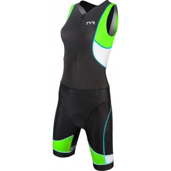 Стартовый костюм слитный / без рукавов TYR Women'S Competitor Tri Suit Front Zip женский черно-зеленый